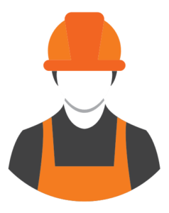icon of male builder in orange suit and hard hat